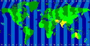 Zeitzonen auf der Weltkarte