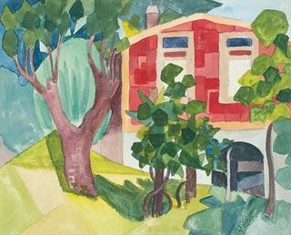 Hermann Hesse malt ein rotes Haus
